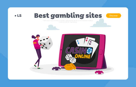 Woman Gaming, Earn Money in Internet, Gambling Landing Page Template. Tiny Female Character Huge Dice for Poker Game