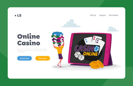 Woman Gaming, Online Income, Gambling Landing Page Template. Tiny Female Character Carry Poker Chips at Huge Tablet 免版税图像 - 157418167