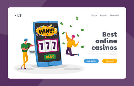 Online Casino Landing Page Template. Happy Young Men Screaming Super Excited Get Jackpot. Characters Celebrate Success 免版税图像 - 157418147