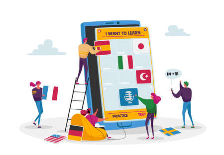 Tiny Male and Female Characters Learning Foreign Language Courses. People around Huge Smartphone with Educational App