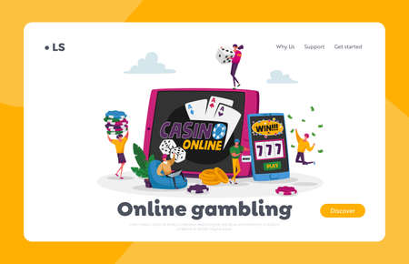 Gamble Player Addiction Landing Page Template. Characters Playing Gambling Games in Online Casino Win Jackpot Prize 免版税图像 - 157418041
