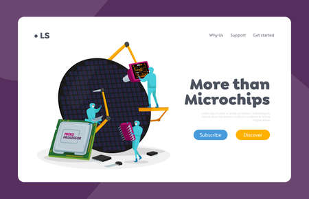 Semiconductors Manufacturing, Scientific Research Landing Page Template. Scientists in Sterile Suits Work in Lab