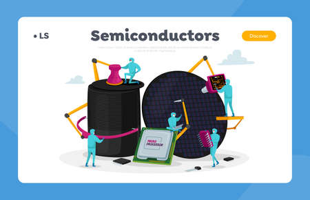 Semiconductor Manufacturing Process Landing Page Template. Facility Team of Scientist Characters Set up Micro Processor
