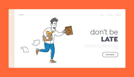 Stressed Business Man Late Landing Page Template. Businessman Character Hurry at Work Running with Briefcase and Papers