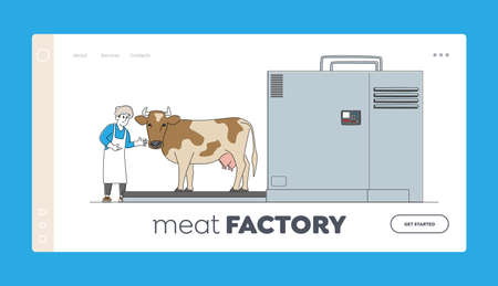 Male Character Working on Meat Factory Landing Page Template. Cow Stand on Processing Line before Carcass Cutting