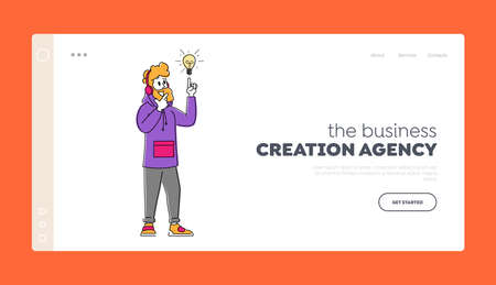 Creative Idea Landing Page Template. Businessman Character Wearing Hipster Clothes and Headphones Pointing to Light Bulb 免版税图像 - 157504136