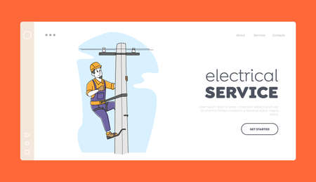 Energy Powerline or Electricity Line Pole Landing Page Template. Electrician Worker Character Climbing on Electric Tower
