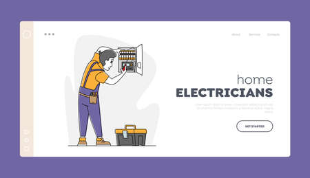 Fire, Energy and Electrical Safety Signaling System Landing Page Template. Electrician in Robe Install Working Draft