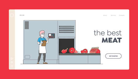 Meat Plant Manufacture Landing Page Template. Factory Worker Character Control Conveyor Belt with Beef Production 矢量图像