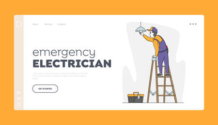 Household Service Landing Page Template. Man Electrician Standing on Ladder Hanging Lamp on Ceiling, or Changing Bulb 矢量图像