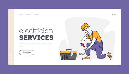 Repair and Maintenance Service Landing Page Template. Electrician Male Character Repairing Socket. Master in Hardhat