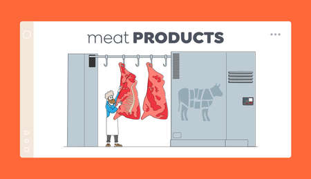 Butchery Manufacture Industry Landing Page Template. Butcher Character Stand at Cow Carcass Hang on Hook at Meat Factory