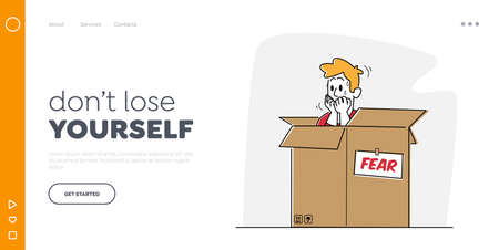 Psychological Health Problems, Illness Landing Page Template. Panic Attack Mental Sickness. Male Character Hiding in Box