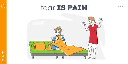 Man Feeling Fear of Spooky Fairytale at Night Time Landing Page Template. Female Character Tell Scary Stories to Man