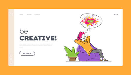 Positive Thinking, Optimistic Imagination Landing Page Template. Happy Female Character Dreaming and Imagine 免版税图像 - 157504293