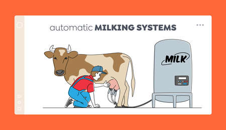 Milk, Dairy Production Landing Page Template. Young Male Milkmaid Character in Uniform Presenting Automatic Machine 免版税图像 - 157504278