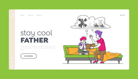 Happy Family Characters Spending Time Together Landing Page Template. Father Reading Book to Son Sitting on Sofa