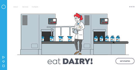 Dairy Production Quality Control on Plant Landing Page Template. Factory Worker Character at Conveyor Belt with Milk