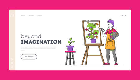 Creative Hobby, Drawing Art Class, Workshop Landing Page Template. Artist Female Character with Paints and Brush in Hand 矢量图像