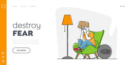 Fear, Mental Disorder Landing Page Template. Woman with Panic Attack Crying Sit in Armchair with Heavy Bob a on Leg 矢量图像