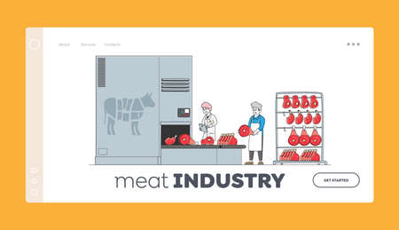Meat Factory Manufacture Landing Page Template. Employees Control Production Quality, Beef Cutting Lying on Conveyor