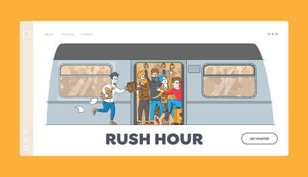 Man Run in Subway Platform to Crowded Train in Rushtime Landing Page Template. Characters Pushing Each Other in Metro 矢量图像