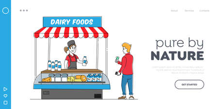 Milk Retail Landing Page Template. Saleswoman Character Sell Dairy Food in Kiosk. Customer Buy Milky Products on Market 矢量图像