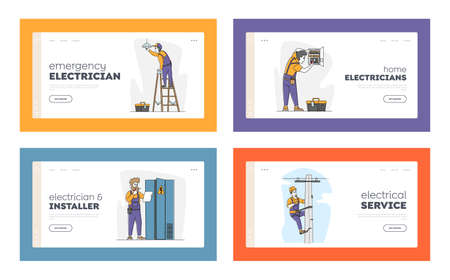Electricians Work Landing Page Template Set. Male Characters Climbing on Transmitting Tower, Change Burnt Lamp