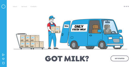 Dairy Food Delivery Service Landing Page Template. Company Delivering Milk by Car. Worker Male Character Load Packages 矢量图像