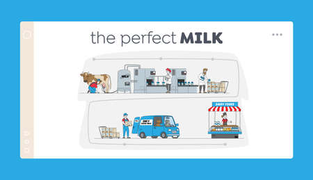 Characters Manufacturing Milk Production Landing Page Template. Farm Industry, Stage Process on Conveyor, Dairy Plant