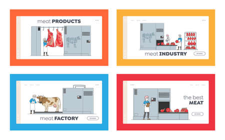 Characters Manufacturing Meat Production Landing Page Template Set. Farm Industry, Stage Process on Conveyor, Beef 矢量图像