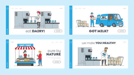 Dairy Production Manufacturing on Plant Landing Page Template Set. Factory Worker Characters at Conveyor Belt with Milk