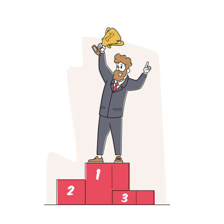 Successful Businessman Character with Gold Goblet in Hand Stand on Golden Podium with Number One. Goal Achievement 矢量图像