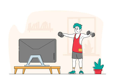 Healthy Lifestyle. Sportsman Training at Home front of Television. Man in Sportswear Workout with Weight, Exercises
