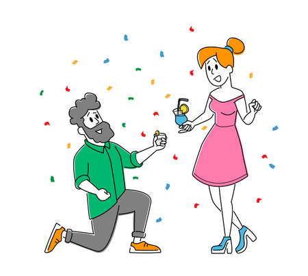 Friends Meeting, Corporate. Young Woman and Man Characters Clinking Glasses with Alcohol Drink Have Fun at Disco Party 矢量图像