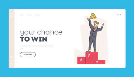 Goal Achievement, Financial Profit, Wealth. Rich Business Man Landing Page Template. Successful Character with Goblet