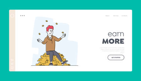 Wealth and Prosperity Landing Page Template. Rich Male Character Juggling with Gold Coins Sitting on Pile of Golden Bars