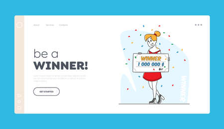 Lucky Woman Rejoice for Get Paycheck Win Landing Page Template. Lottery Winner Female Character Holding Huge Voucher