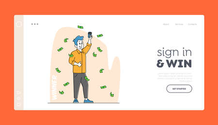Financial Freedom Landing Page Template. Lottery Winner Male Character Stand under Falling Money Rain with Lucky Tickets