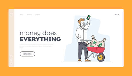 Rich Man with Wheelbarrow of Dollar Sacks Landing Page Template. Male Character Richness, Wealth and Prosperity, Money Illusztráció