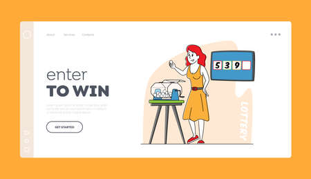 Game of Chance, Tv Show or Fortune Landing Page Template. Female Character Pull Balls from Lottery Drum during Raffle