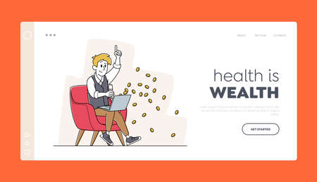 Man Win Money in Internet Landing Page Template. Happy Male Character Sitting with Laptop and Wine Glass Celebrate Win 矢量图像