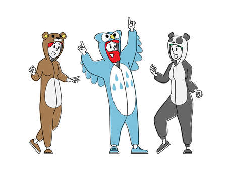 Happy People Costume Party Concept. Cheerful Hipsters Young Male and Female Characters, Students in Funny Pajamas