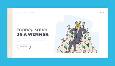 Wealth and Prosperity Landing Page Template. Rich Male Character Sitting on Sacks with Dollars. Successful Business Man