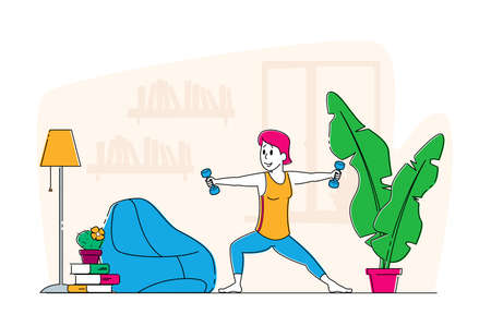 Sportswoman Exercising with Dumbbells Concept. Male Character in Sportswear Workout with Weight at Home, Healthy Lifes