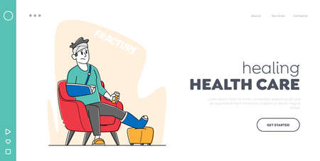 Injured Patient Landing Page Template. Male Character with Bounded Leg, Head and Arm Sit in Armchair at Home or Hospital 矢量图像