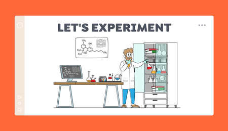 Man Scientist Conduct Experiments in Science Laboratory Landing Page Template. Male Character Researcher in Chemical Lab 矢量图像