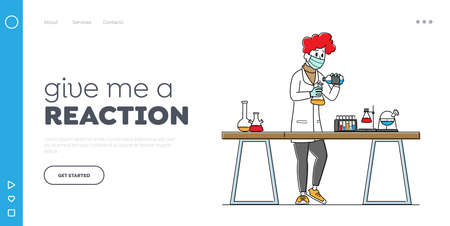 Scientist in Lab Coat Conduct Experiment Landing Page Template. Chemistry Science, Scientific Research in Laboratory 矢量图像