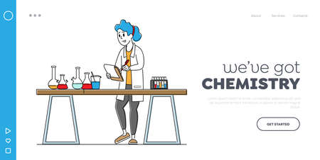 Researcher in Chemical or Biochemical Lab Landing Page Template. Chemist Scientist Conduct Experiment in Laboratory