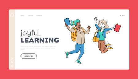 Happy Students Characters Jumping Landing Page Template. Schoolboy and Schoolgirl with Backpacks Waving Hands